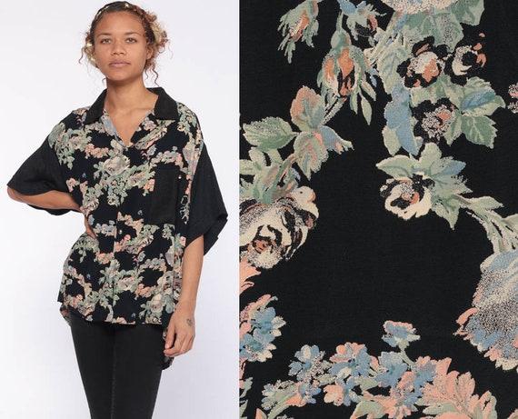90s Floral Blouse IRIDESCENT BUTTON Black Button Up Shirt Rayon 80s Short Sleeve Top Grunge Boho 1990s Vintage Bohemian Medium Large xl