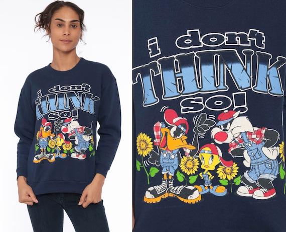 90s Looney Tunes Sweatshirt I DON'T THINK SO Kawaii Tweety Bird Navy Blue Sweatshirt Sylvester The Cat Cartoon Graphic Vintage Small xs