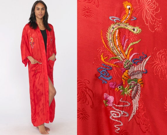 Embroidered Peacock Kimono -- Red Asian Kimono Robe Jacket Bird Bohemian Wrap Dressing Gown Vintage Boho Hippie Chinese Medium