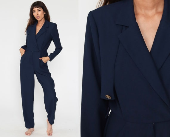 Navy Tapered Jumpsuit 90s Playsuit Blue High Waisted Romper Playsuit Pants Wrap 1990s Vintage Pantsuit V Neck Long Sleeve Small 4