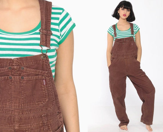 Brown Corduroy Overalls Women 90s DISTRESSED Grunge Suspender Pants 80s Baggy Bib Cargo Vintage Jordache Dungarees Coveralls Retro Medium