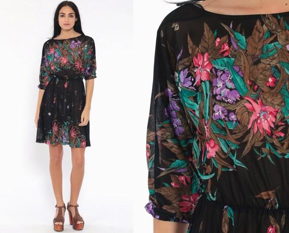 Sheer Floral Dress Dolman Sleeve Mini Bohemian 70s Black Floaty Dress Garden Party 1970s Vintage Boho High Waisted Romantic Extra Small xs s