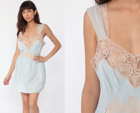 Pastel Lingerie Nightgown -- Baby Blue LACE Babydoll Slip Dress 70s Nightgown Sheer Mini Pin Up Sweetheart 1970s Vintage Pinup Large