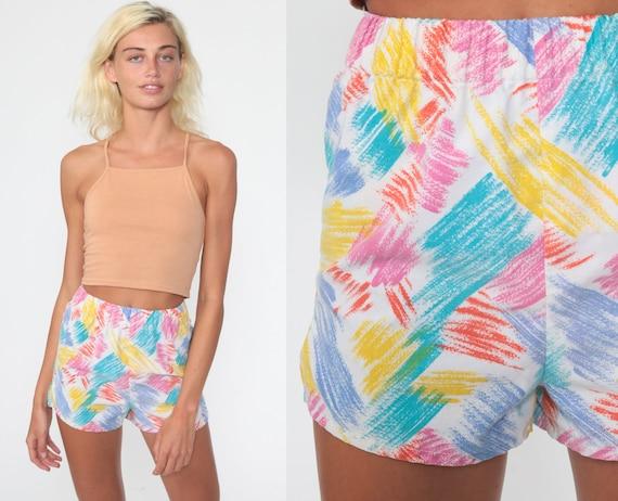 Vintage Brushstroke Shorts xxs 80s Shorts Rainbow Shorts Tropical Summer High Waisted Retro COTTON Vintage 1980s Elastic Waist Hipster 2xs