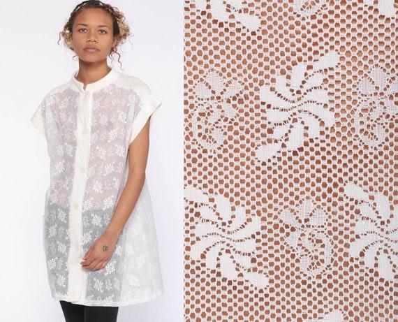 Sheer Lace Tunic Top 70s Blouse Mod Top Boho White Shirt Tunic Mesh Crochet Bohemian Vintage 1970s Cap Sleeve Button Up Small Medium