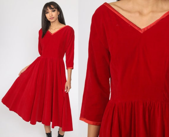 60s Red VELVET Dress -- 60s Party Dress Cocktail Dress 1960s Long Sleeve Midi Evening High Waisted Fit and Flare Tea Length Small S