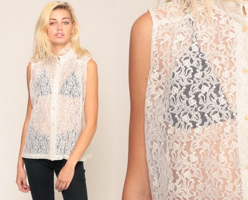 82855b78ca2702 SHEER Lace Blouse Victorian Shirt 70s Boho Top Ruffle Collar | Etsy