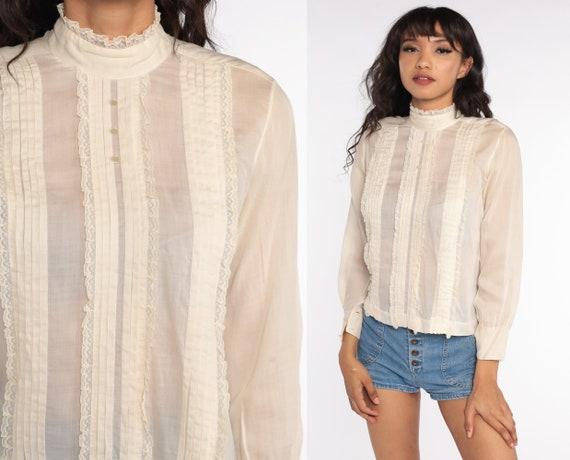 Victorian Blouse Cream Sheer LACE Shirt Boho Top 70s RUFFLE Collar Button Up Vintage Bohemian 1970s Long Sleeve Small S