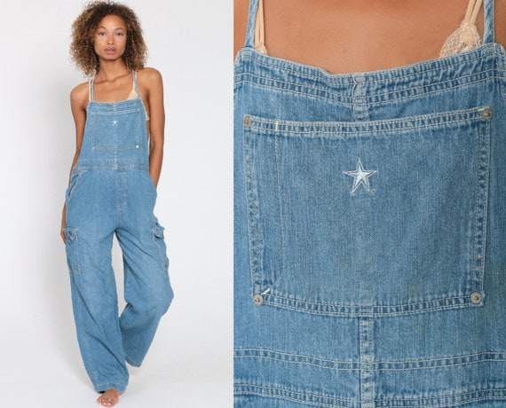 Y-Back Overalls Pants STAR BIB 90s Denim Pants Lightweight Soft Jean Dungarees Wide Leg Baggy Coveralls Long Blue Carpenter Medium Large