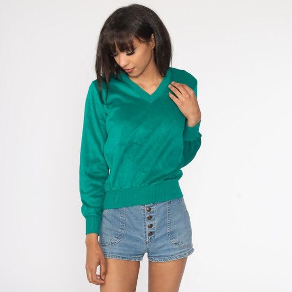 Green Velour Sweater Retro Sweatshirt V NECK Long… - image 3