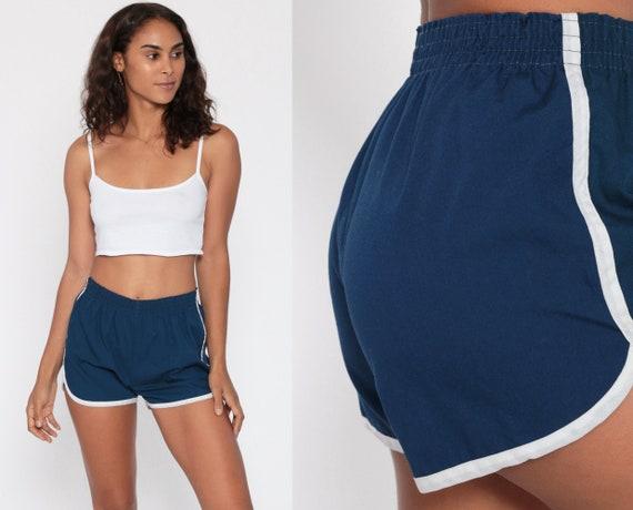 Blue Gym Shorts 80s Cotton Running Shorts Racing Shorts High Waisted Retro Gym Jogging Shorts 80s Vintage Elastic Waist Extra Small XS