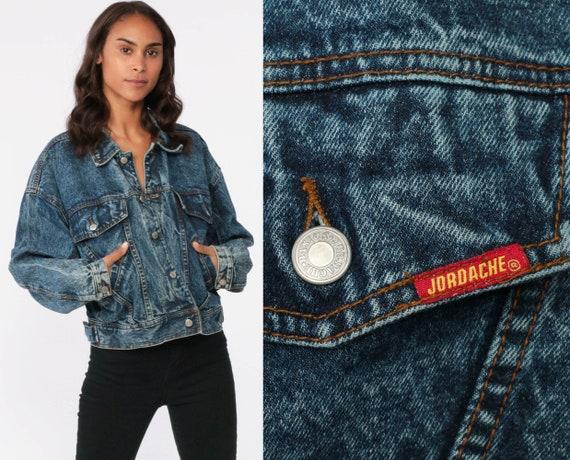 80s JORDACHE Jacket Acid Wash Denim Jacket 90s Jean Jacket Grunge Biker 1980s Vintage Button Up Denim Coat Large