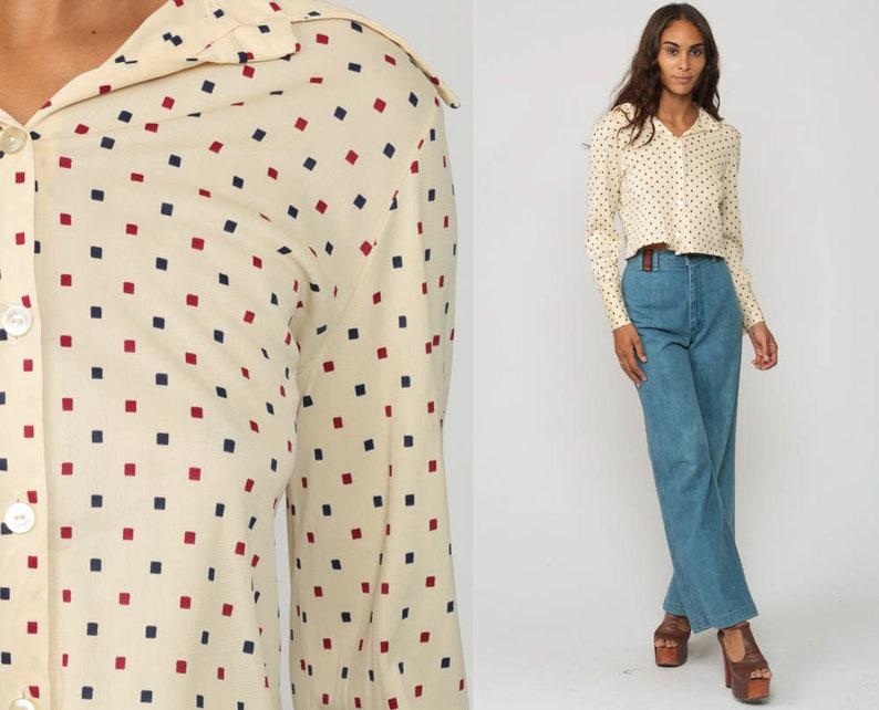 1e90f868b1282 Cropped Blouse 70s Polka Dot Shirt Disco Top Bohemian Shirt