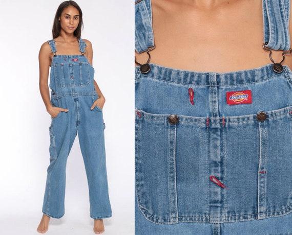 Dickies Overalls 90s Denim Bib Overalls Baggy Dungarees Long Jean Pants Grunge Pants Suspender Hipster Carpenter Small Medium