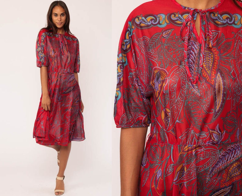 5f49688042 Boho Dress 70s Midi Bohemian Red Paisley Leaf Print SHEER
