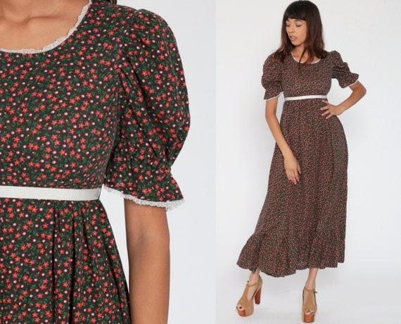 70s Maxi Dress PUFF Sleeve Boho Floral Print 1970s Hippie Bohemian Empire Waist Festival Vintage Red Romantic Small