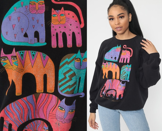 Laurel Burch Shirt Cat Sweatshirt Kitten 90s Animal Sweatshirt Metallic Vintage Graphic Shirt Raglan Sleeve Novelty Black Medium Large