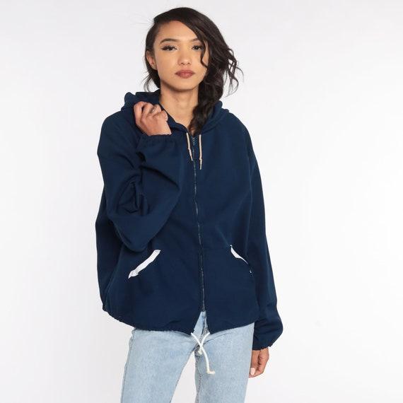 Hooded Jacket 70s Track Jacket Navy Blue Hoodie S… - image 2