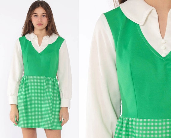 Mod Gingham Dress 70s Mini Dress Green 60s Mini Plaid Print 1970s Boho High Waist Collared Preppy Checkered Vintage Small