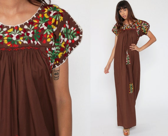 Oaxacan Embroidered Dress 70s Brown MEXICAN Maxi Hippie White 1970s Boho Wedding Vintage Ethnic Bohemian Traditional Small s