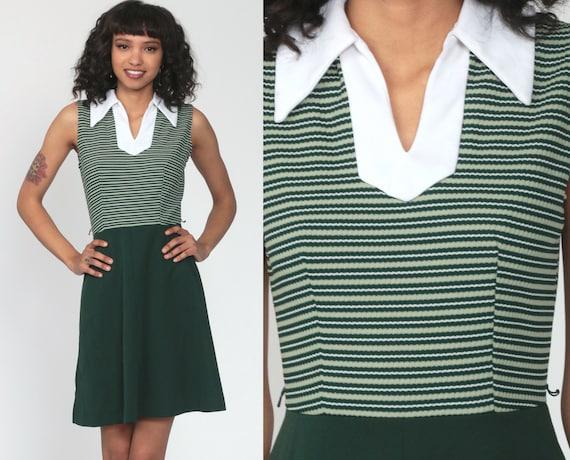 70s Mini Dress Green Stripe Dress 1970s Mod Dress Boho High Waisted Collar Vintage Sleeveless Twiggy Gogo 60s Polyester Minidress Small