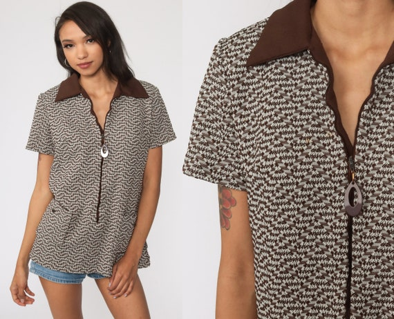70s Shirt Mod Top ZIP UP Blouse Op Art Geometric Print Hippie Boho Twiggy Short Sleeve Brown Bohemian Vintage 1970s Shirt Medium Large