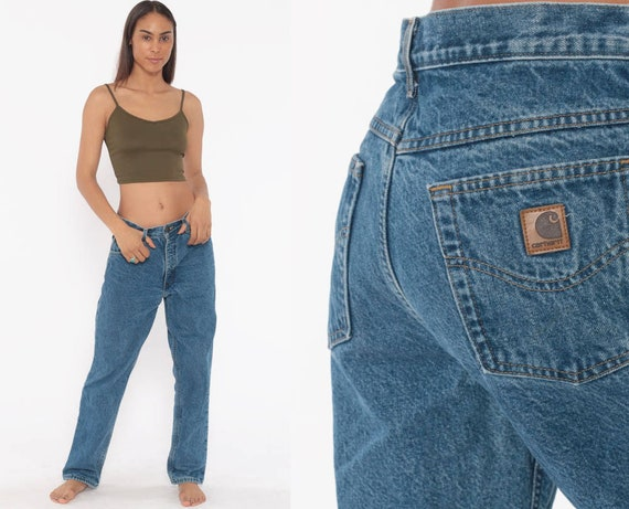 Lined Carhartt Jeans 30 x 29 Pants Workwear Blue Boyfriend Jeans Work Pants 90s Baggy Denim Pants Vintage Medium 8