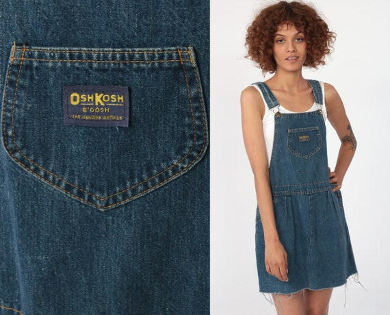 hot product latest collection search for clearance OSHKOSH Overall Dress 90s Mini Denim Jumper Jean Dress Bib Suspender 80s  Grunge Blue Osh Kosh Open Sides Normcore Extra Small xs
