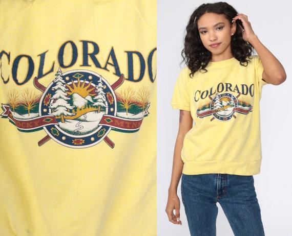 Colorado Shirt Rocky MountainS Sweatshirt 80s Graphic Sweater Short Sleeve Vintage Retro Yellow Sweater 90s Sportswear Medium