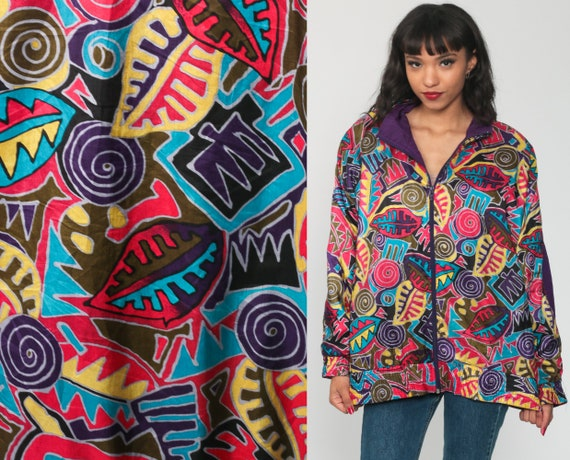 90s Windbreaker Jacket Geometric Jungle Print Boho Psychedelic Funnel Neck Leaf Swirl Grunge Hipster Bohemian Vintage 1990s Medium Large