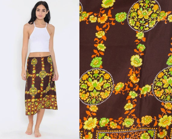 Floral Midi Skirt 70s Boho High Waisted Brown Orange 1970s Bohemian Hippie Festival Vintage Retro Small Medium