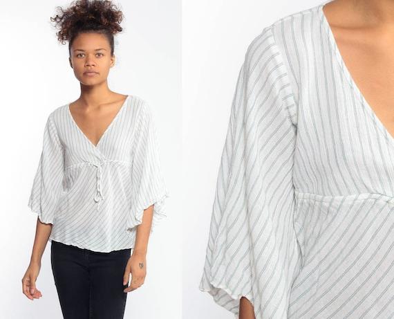 Bohemian Blouse BELL Sleeve Top Angel Sleeve Shirt Babydoll Striped Shirt 90s Cotton Semi Sheer 1990s Bohemian Festival Summer Blouse Small