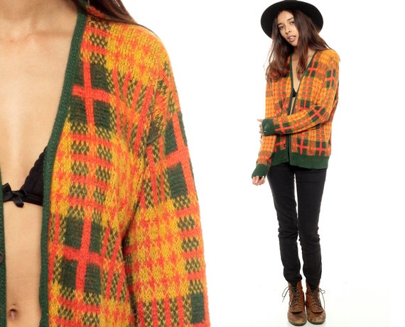 Plaid Cardigan 80s Preppy Grandpa Sweater Distressed Orange Forest Green Knit Button Up V Neck Checkered 1980s Vintage Women Large