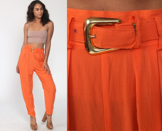 90s Tapered Trousers Orange Pleated Pants 80s High Waisted Mom Pants High Waist 1990s Relaxed Belted Pants Bright Vintage Rayon Small