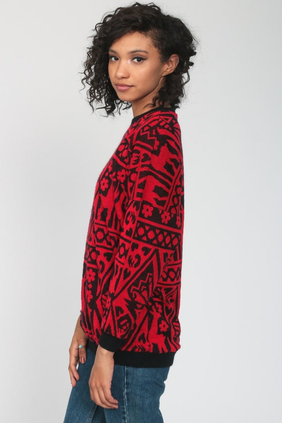 Deer Sweater 80s Red Floral Animal Print Slouchy … - image 5