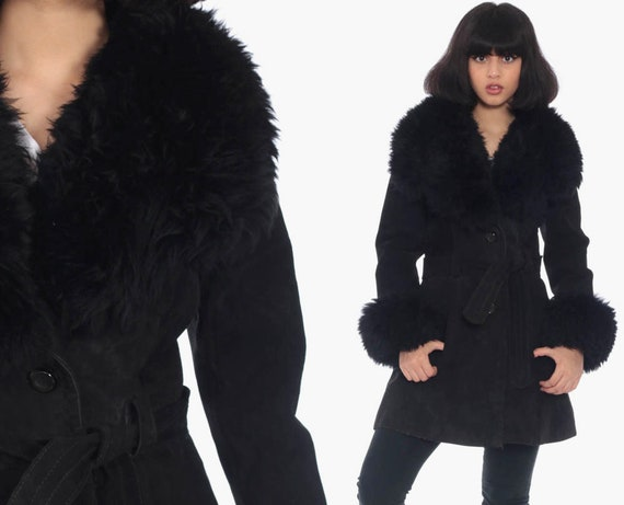 Black Suede Coat 70s FAUX FUR Leather Hippie Jacket Boho Jacket Long 1970s Hipster Bohemian Seventies Glam Disco Womens Extra Small xs