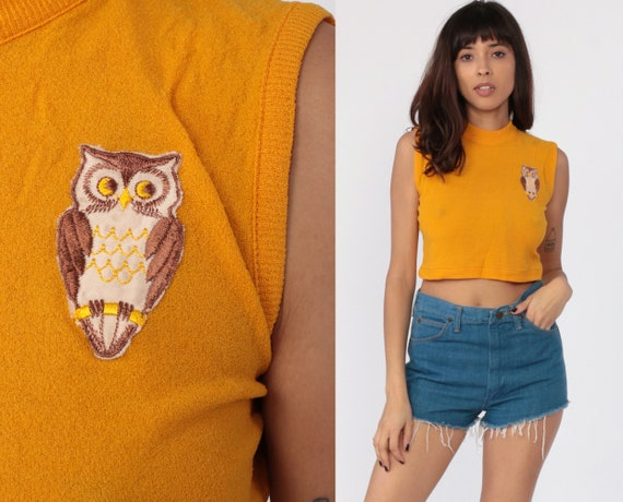 70s Owl Shirt Crop Top Sleeveless Patch Tee Mockneck Yellow Summer Tank Top 1970s Retro Vintage Cropped Top Bird Blouse Extra Small XS