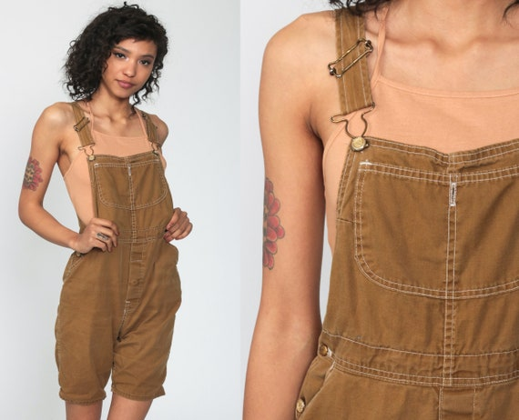 Brown Overall Shortalls 90s Grunge Jean Bib Suspender Dungarees Workwear Summer Cotton Retro Vintage 1990s Streetwear Extra Small xs
