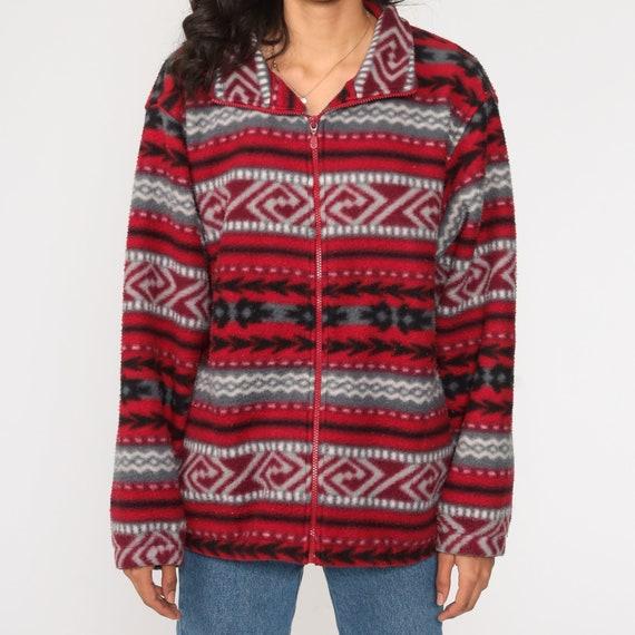 vintage oversized tribal print fleece jacket vintage 1990s boho bohemian hippie fleece pullover
