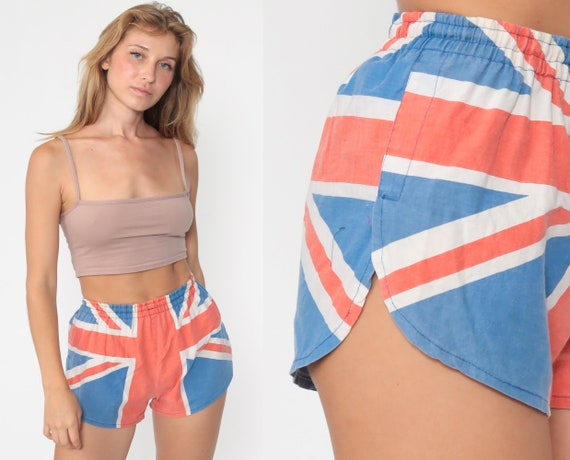 British Flag Shorts 80s Jogging Shorts ENGLAND Running Shorts Gym Shorts Blue Red High Waisted 1980s Tourist Bottoms London Extra Small xs