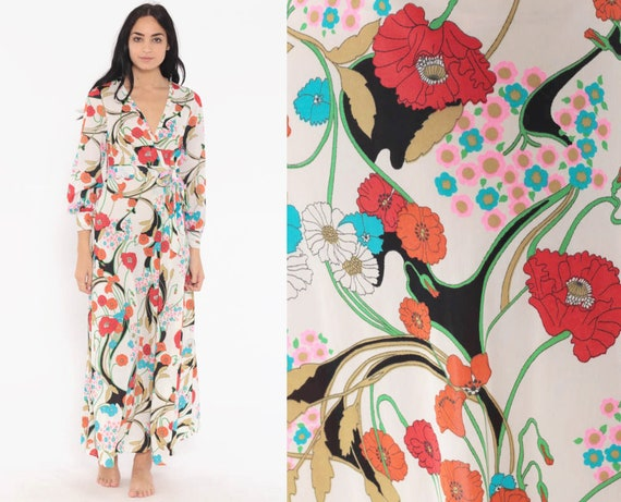 Floral Lounge Dress WRAP Dress V Neck 70s Maxi Poppy High Waisted 1970s Vintage High Slit Long Sleeve Nightgown Extra Small xs 32