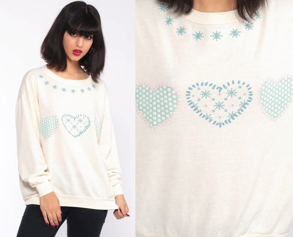 90s Heart Sweatshirt 80s Sweatshirt HEART Shirt Retro Pullover Kawaii 1980s Vintage Jumper Cream Extra Large xl
