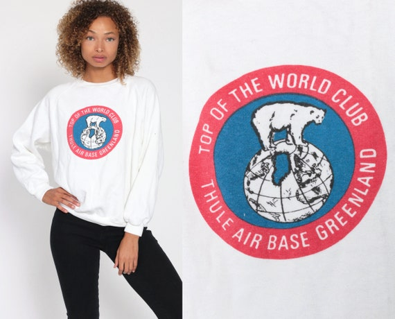 Polar Bear Sweatshirt -- GREENLAND Top Of The World Thule Air Base Shirt 80s Sweatshirt Graphic Vintage White 1980s Animal Extra Small xs