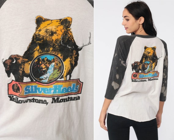 Vintage Yellowstone Shirt Bear Ringer Tee Graphic Tshirt 80s Long RAGLAN Sleeve National Park California Silverheels T Shirt Small Medium