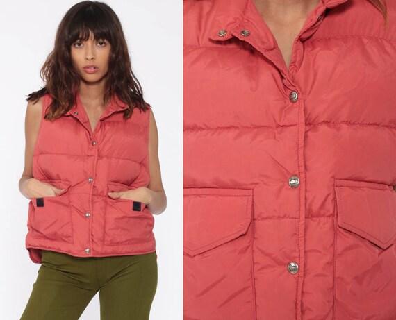 Puffer Vest Woolrich Woman Ski Vest Retro 80s Vest Salmon Goose DOWN Puffy 70s Sleeveless Jacket Winter Vest Vintage Medium Large