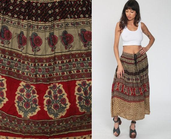 Floral Skirt Boho Hippie Gauze Skirt 90s Maxi Bohemian Skirt Vintage Broomstick Skirt Gypsy Festival Skirt Medium Large xl