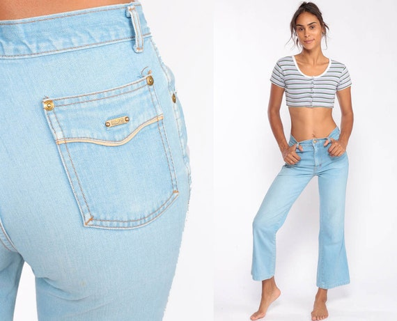 Denim Bell Bottoms Jeans High Waisted Jeans 70s Flared Denim Pants Super High Waist 1970s Vintage Hipster Blue Jean Extra Small xs 00
