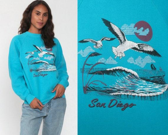San Diego Shirt 80s Sweatshirt Seagull Bird Shirt Raglan Sleeve 1980s Ocean Print Jumper Slouchy Vintage Crewneck Small Medium