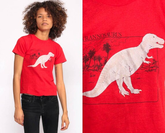 T Rex Shirt Dinosaur Shirt T Shirt Graphic Tshirt Vintage 80s Tshirt Dino Print Retro Tee Tyrannosaurus Rex Screen Print Extra small xs xxs