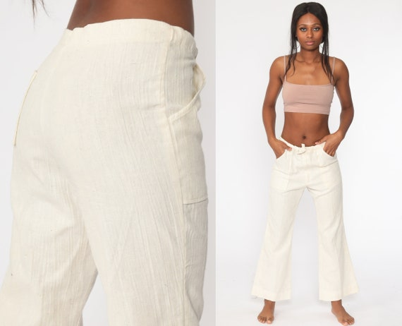Bell Bottoms Pants 70s Off-White Cotton Drawstring Waist Bellbottom Trousers Boho Hippie Mid Rise 1970s Vintage Bohemian Small